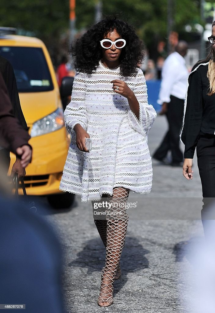 Solange Knowles is seen outside the 3.1 Phillip Lim show during New York Fashion Week 2016 on September 14, 2015 in New York City.