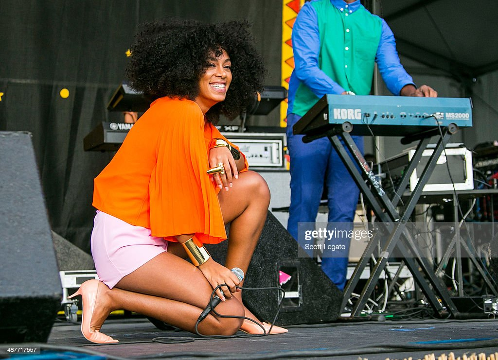 Solange Knowles performs during the 2014 New Orleans Jazz & Heritage Festival at Fair Grounds Race Course on May 1, 2014 in New Orleans, Louisiana.