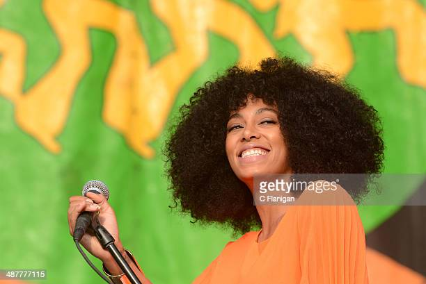 Solange Knowles performs during the 2014 New Orleans Jazz Heritage Festival at Fair Grounds Race Course on May 1 2014 in New Orleans Louisiana