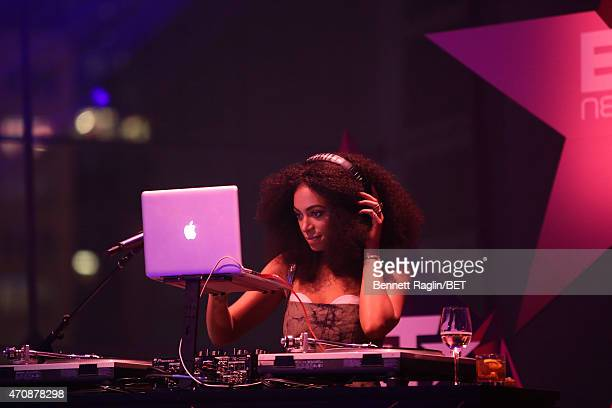 Solange Knowles performs on stage at the BET New York Upfronts on April 23 2015 in New York City