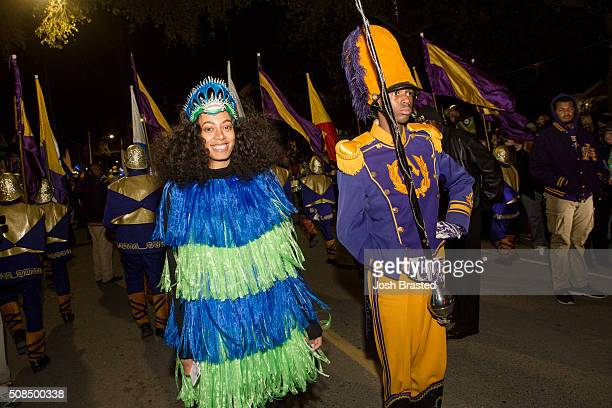 Solange Knowles poses for a photo next to a St Augustine High School Drum Major before the Muses parade on February 4 2016 in New Orleans Louisiana