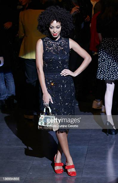 Solange Knowles poses on the runway prior the Dolce Gabbana fashion show as part of Milan Fashion Week Menswear Autumn/Winter 2012 on January 14 2012...