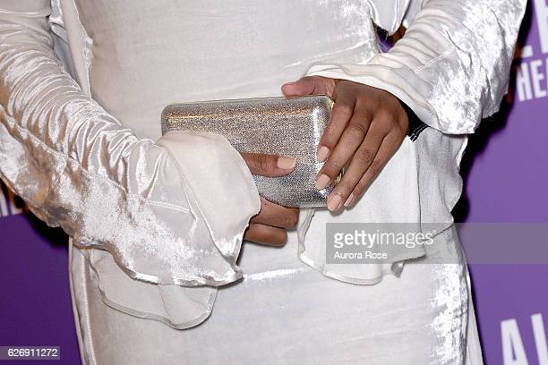 Solange Knowles purse detail at Alvin Ailey American Dance Theater Opening Night Gala Benefit 'An Evening of Ailey and Jazz' at New York City Center...