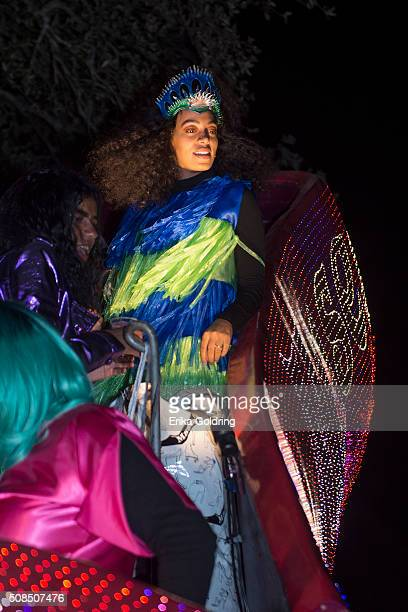 Solange Knowles rides in the Krewe of Muses parade on February 4 2016 in New Orleans Louisiana