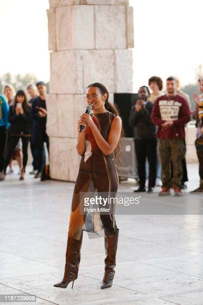 "Solange Knowles speaks as she debuts a new sitespecific performance ""Bridges"" at Getty Center on November 11 2019 in Los Angeles California"
