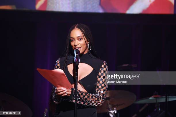 Solange Knowles speaks onstage at the Lena Horne Prize Event Honoring Solange Knowles Presented by Salesforce at the Town Hall on February 28, 2020...