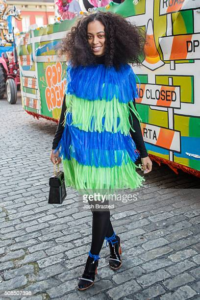 Solange Knowles wearing a dress by Jeremy Scott and shoes by Kento poses for a photo before riding as Honorary Muse at the 2016 Muses parade on...