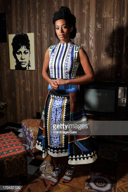 Solange Knowles wearing Mary Katrantzou poses at 'Better Days' an art bar installation by Mickalene Thomas presented by Absolut Art Bureau at Art...