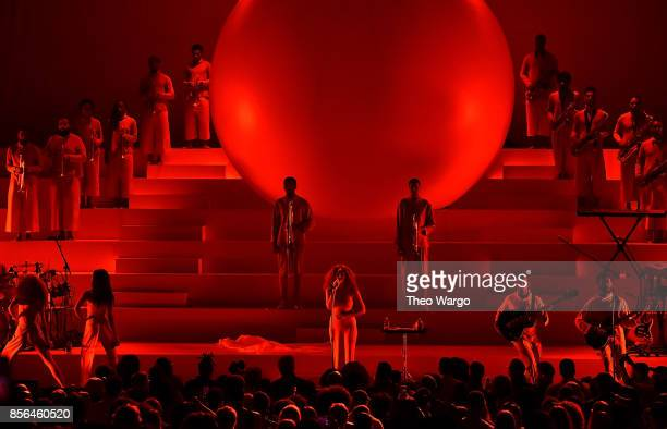 Solange performs during Orion's Rise A Special Performance With Solange And The Sun Ra Arkestra at The Kennedy Center on October 1 2017 in Washington...