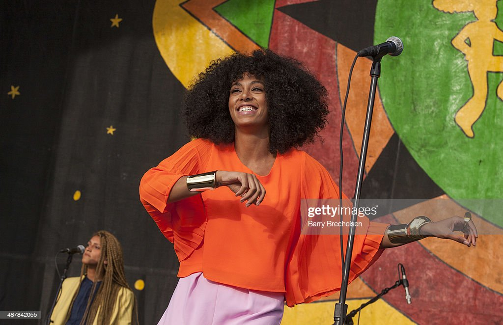 Solange performs during the 2014 New Orleans Jazz & Heritage Festival at Fair Grounds Race Course on May 1, 2014 in New Orleans, Louisiana.