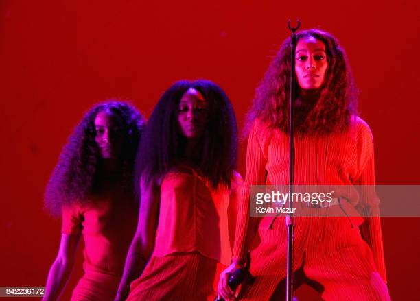 Solange performs onstage during the 2017 Budweiser Made in America festival Day 1 at Benjamin Franklin Parkway on September 2 2017 in Philadelphia...