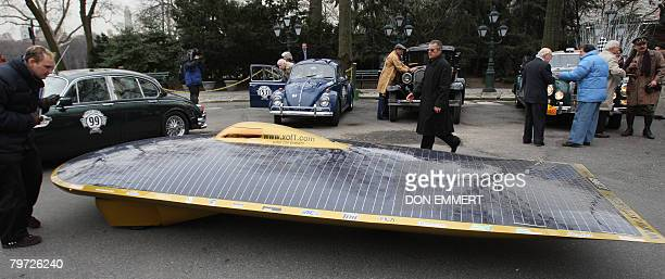 A solar car arrives at a news conference announcing the Great Race 2008 on February 12 2008 in New York The 65day race from New York to Paris...