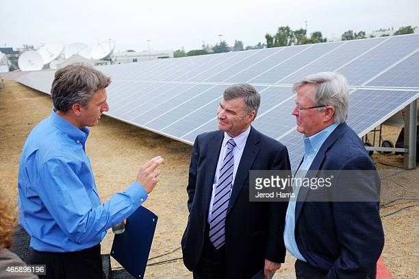 Solar City CEO Lyndon Rive DIRECTV CEO Mike White and Executive Vice President of Services and Operations at DIRECTV Mike Palkovic attend the DIRECTV...