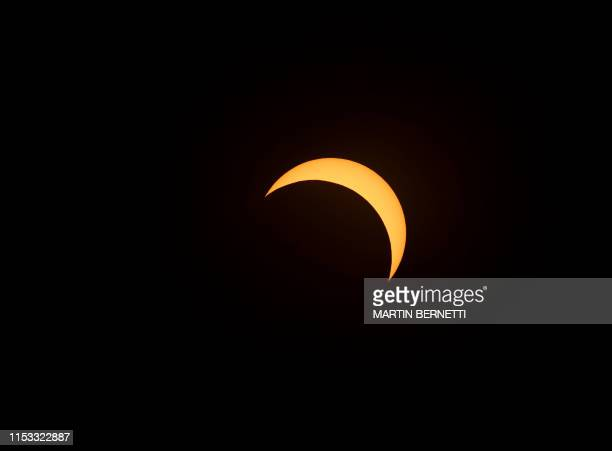 Solar eclipse as seen from the La Silla European Southern Observatory in La Higuera Coquimbo Region Chile on July 02 2019 Tens of thousands of...