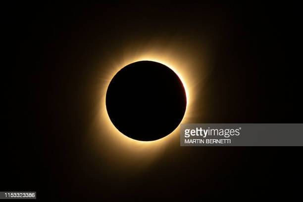 TOPSHOT Solar eclipse as seen from the La Silla European Southern Observatory in La Higuera Coquimbo Region Chile on July 02 2019 Tens of thousands...