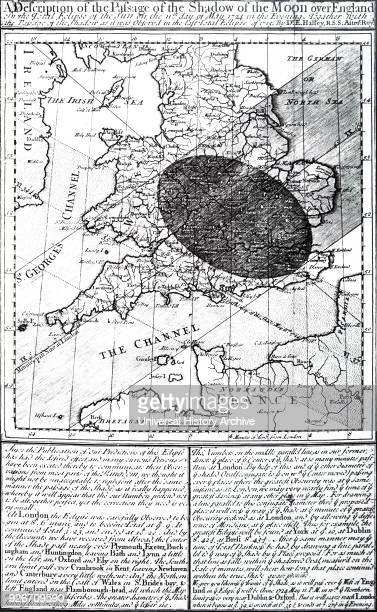 Solar eclipse chart showing the predicted path of the eclipse of 1724 and the actual path of the eclipse of 1715 Dated 18th century