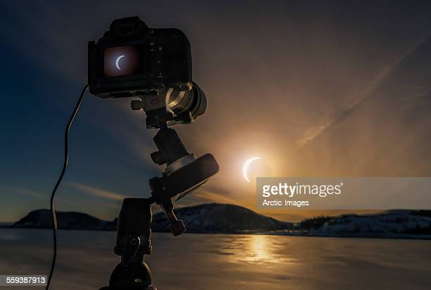 Solar eclipse, Thingvellir National Park, Iceland.
