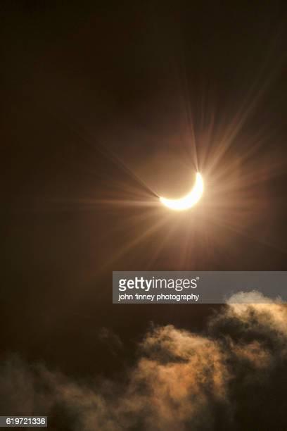 Solar eclipse with flare over Derbyshire, Peak District, UK