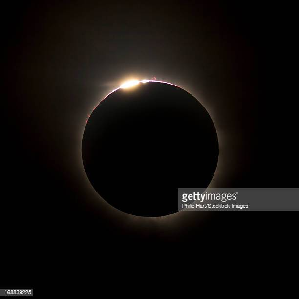 Solar Eclipse with prominences and diamond ring effect, Queensland, Australia.