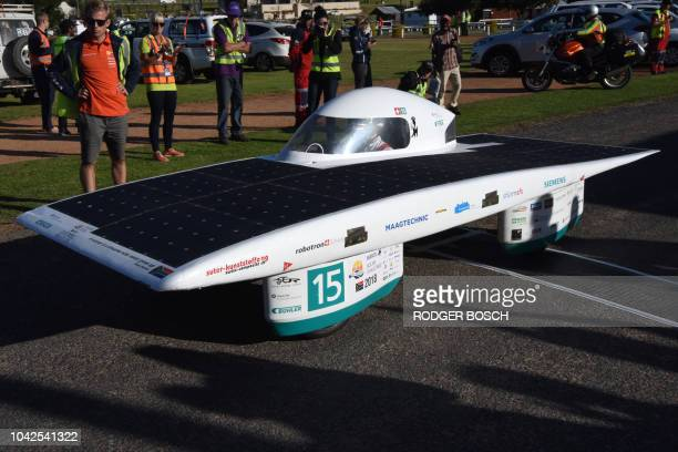 Solar Energy Racers a Swiss entrant finishes Day 7 of the Sasol Solar Challenge on September 28 in Swellendam South Africa The eightday race has...