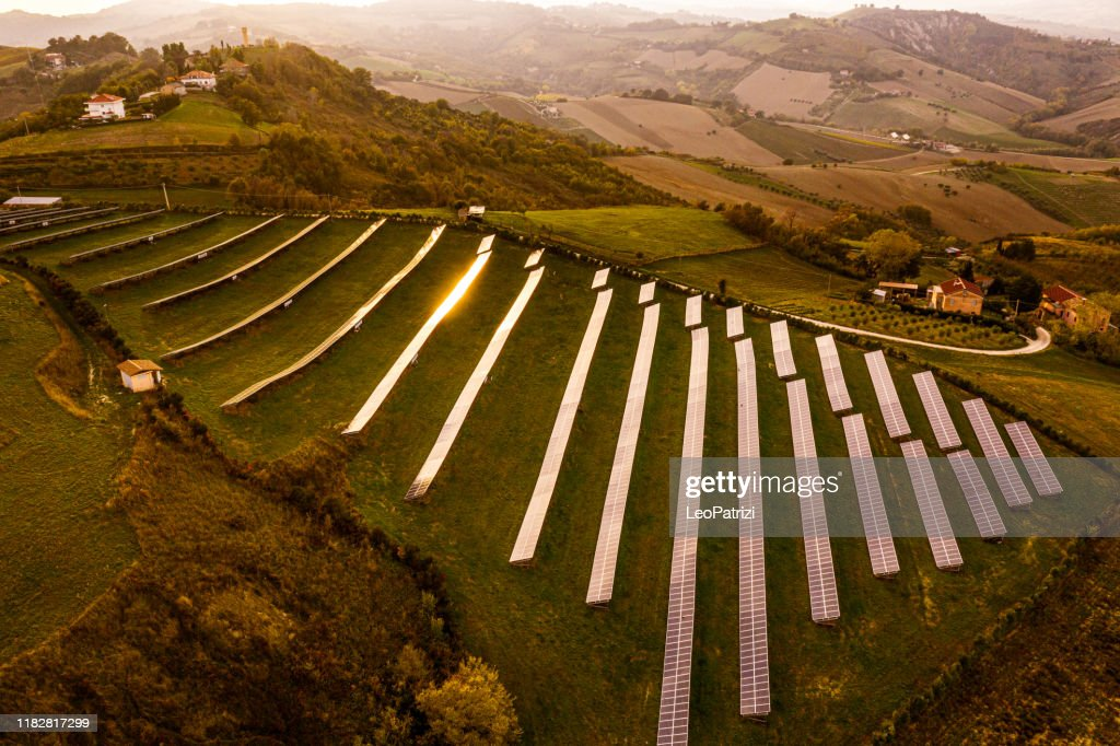 Solar energy station in countryside aerial view : Stock Photo