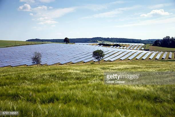 solar farm in bavaria - solarkraftwerk stock-fotos und bilder
