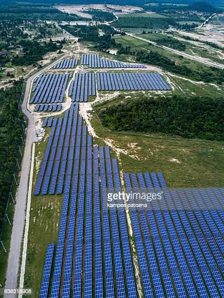 Solar farm, solar panels from above