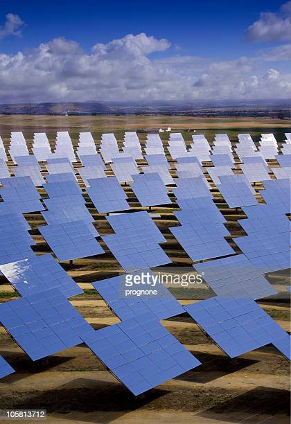 solar heliostats for sun powered energy production - solar mirror stock pictures, royalty-free photos & images