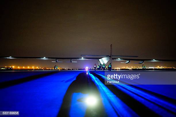 Solar Impulse 2 the solar airplane of Swiss pioneers Bertrand Piccard and André Borschberg in preparation for the take off from Tulsa International...