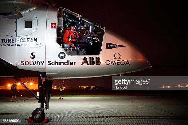 Solar Impulse 2 the solar airplane of Swiss pioneers Bertrand Piccard and Ande Borschberg in preparation for the take off from Tulsa International...