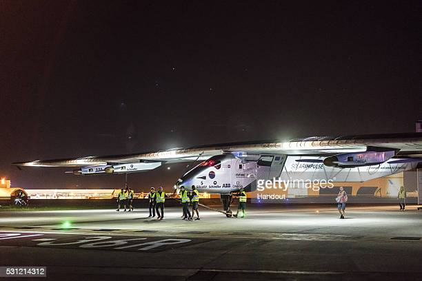 Solar Impulse 2 the solarpwered plane which landed at Tulsa International Airport Oklahoma on May 12 2016 at 1115pm local time after taking off from...