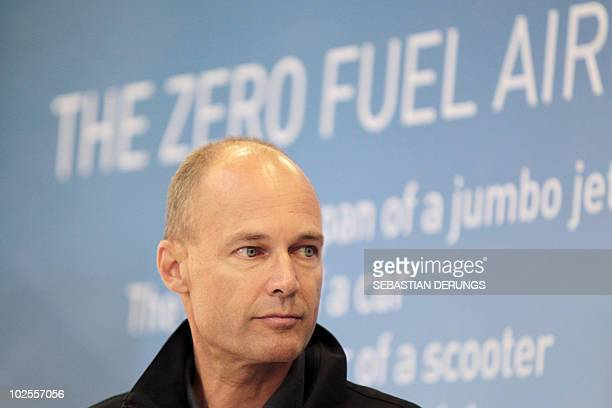 Solar Impulse chairman Bertrand Piccard and previously the first balloonist to circumnavigate the globe gives a press conference after a pioneering...