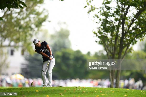 Solar Lee of South Korea hits her second shot on the 1st hole during the final round of the Nitori Ladies at Otaru Country Club on September 1 2019...