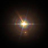 Solar Lens flare light special effect on Black background