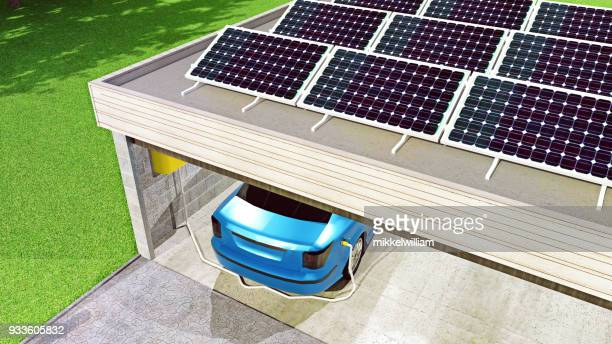 Solar-Panel-Gebühren-Elektro-Auto in Garage geparkt