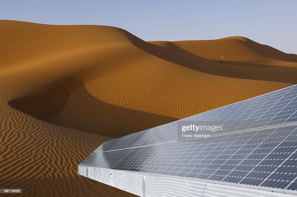 Solar Panel In Desert Rub Al Khali Arabia High-Res Stock ...