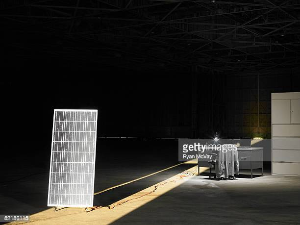 solar panel in warehouse