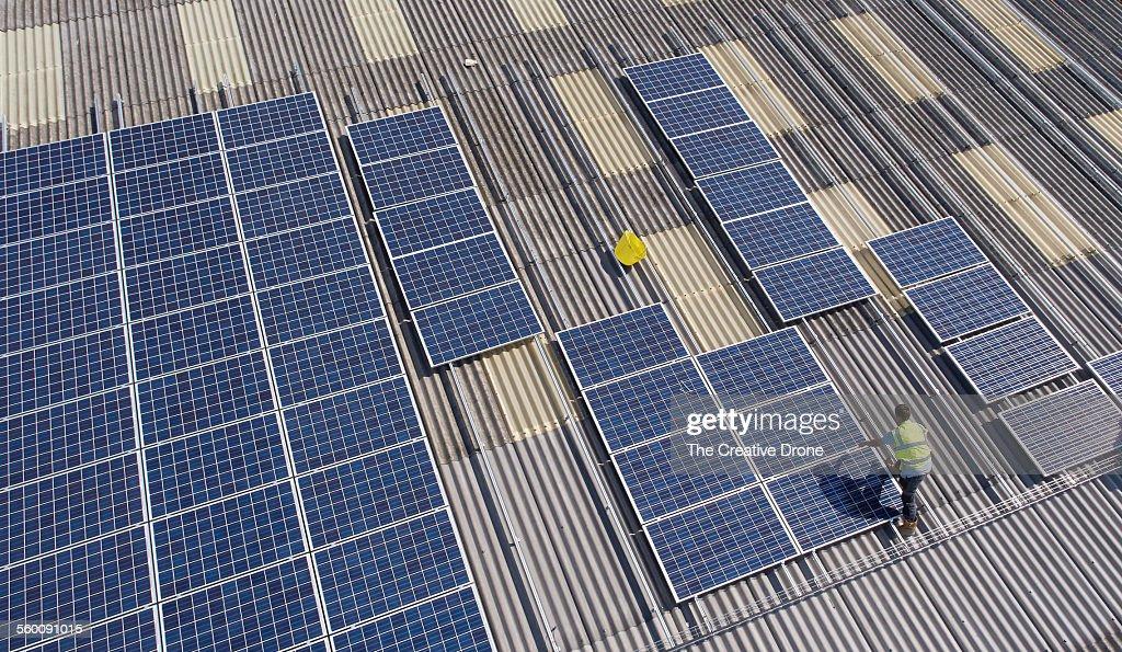 Solar Panel Installation : Stock Photo