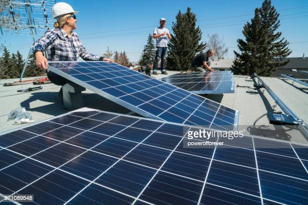 solar panel installation - solar powered station stock pictures, royalty-free photos & images