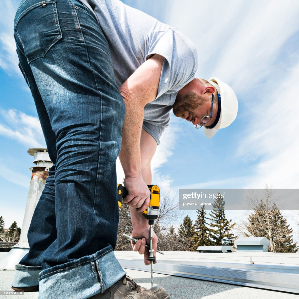 Solar Panel Installation - Racking and Support : Stock Photo
