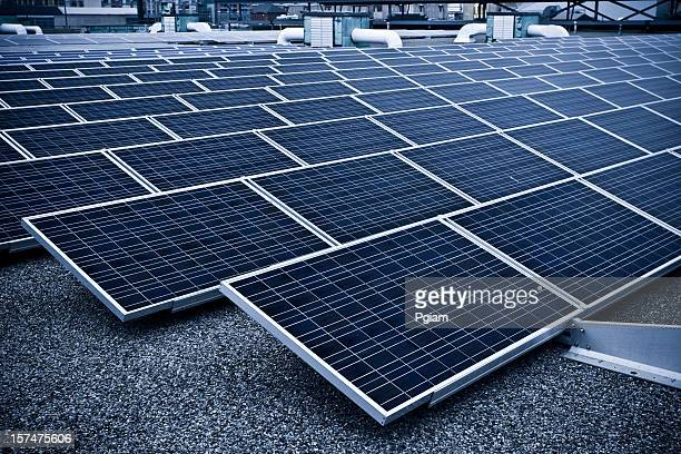 Solar panel on an industrial rooftop