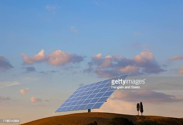 Solar panel on hillside