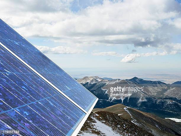Solar panel on the top of a mountain