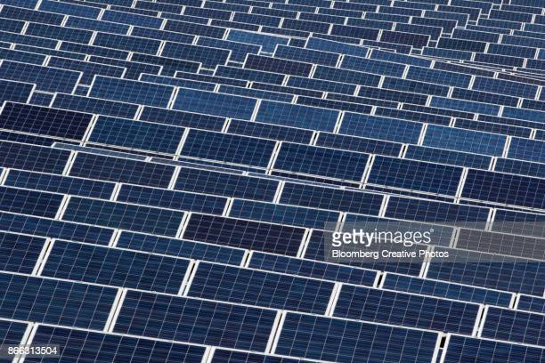 solar panel power plant - south korea stock pictures, royalty-free photos & images