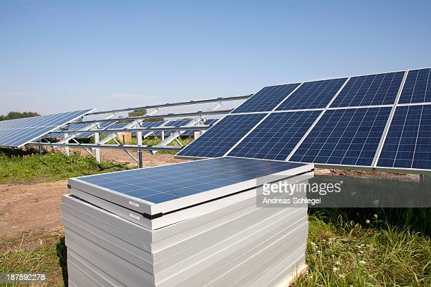 a solar panel station under construction - andreas solar stock pictures, royalty-free photos & images