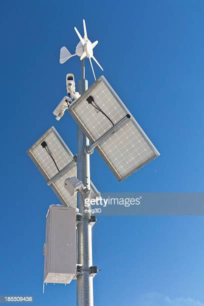 Solar panel, wind turbine and surveillance cameras