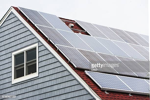 Solar panelled roof, Long Beach, New York, USA