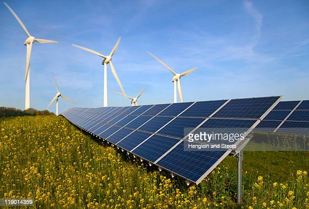 solar panels and wind turbines in field - solar panels stock photos and pictures