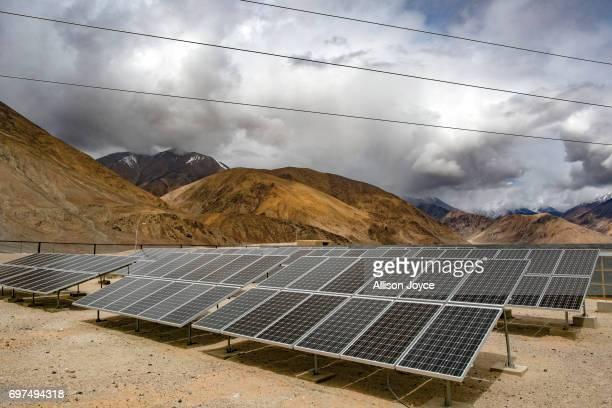 Solar panels are seen in Yarat village on June 14 2017 in Ladakh India The cold desert of Ladakh has been known as the roof of the world and...
