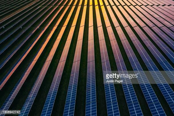 solar panels at dusk - business finance and industry bildbanksfoton och bilder
